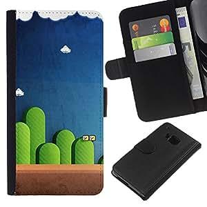 """JackGot ( Mario Juegos"""" ) HTC One M7 la tarjeta de Crédito Slots PU Funda de cuero Monedero caso cubierta de piel"""