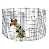 Midwest Homes for Pets Exercise Pen for Pets with Split Max Lock Door, 42-Inch, Black