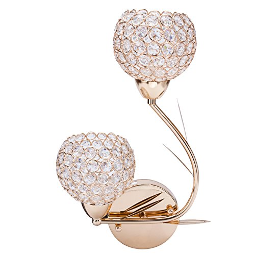 Lightess Crystal Wall Sconce Lighting for Bathroom Home Sconces Light (Left)
