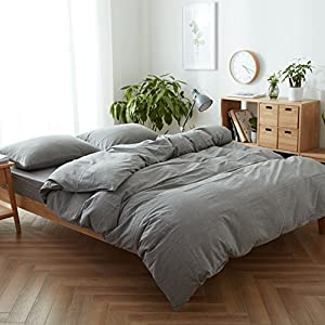 FACE TWO FACE 3-piece Duvet Cover King,100% Washed Cotton Duvet Cover,Ultra Soft Easy Care,Simple Style Bedding Set (KING, Gray)