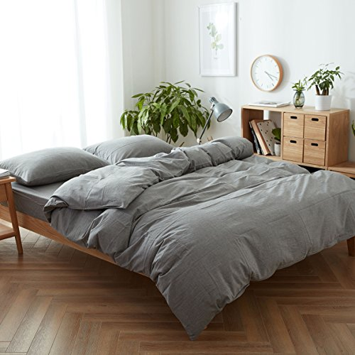 FACE TWO FACE 3-Piece Duvet Cover Queen,100% Washed Cotton Duvet Cover,Ultra Soft and Easy Care,Simple Style Bedding Set (Queen, Gray)