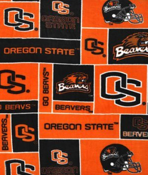 Oregon State Beavers Allover NCAA Fleece Fabric - by the Yard