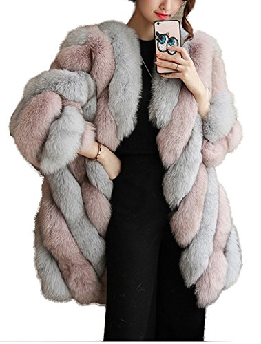 Women's Stylish Mid Length Faux Fur Collarless Warm Outwear Coat Pink by GESELLIE
