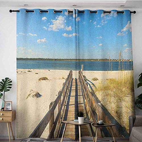 AGONIU Indoor/Outdoor Curtains,Beach Perdido Beach and Long Pier Deck Over Sand Gulf of Mexico South America Resort Theme,Great for Living Rooms & Bedrooms,W108x72L Cream Blue