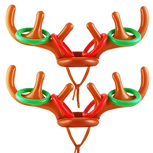 CCINEE Inflatable Reindeer Antler Hat Deer Toss Game Toys for Kids Toss Game and Christmas and New Year Party, Pack of -