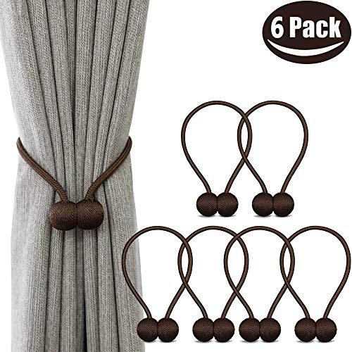 6 Pack Magnetic Curtain Tiebacks, Decorative Curtain Holdbacks for Window Décor (Coffee)