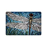 "23.6""(L) x 15.7""(W),3/16"" thickness,Stylish Design Dragonfly Art Painting Entrance Indoor/Outdoor Floor Mat Doormat"