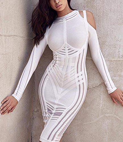 Noche Por K Vestido Vestidos Paseo Rodilla Bar blanco Manga Para Ajustado Mujer Larga La wUUPr0qxT