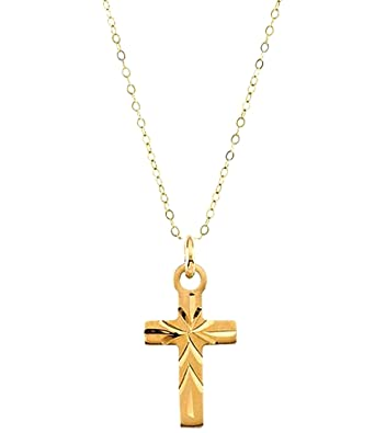 Amazon childrens 14k yellow gold engraved design cross pendant childrens 14k yellow gold engraved design cross pendant necklace 15quot aloadofball Images