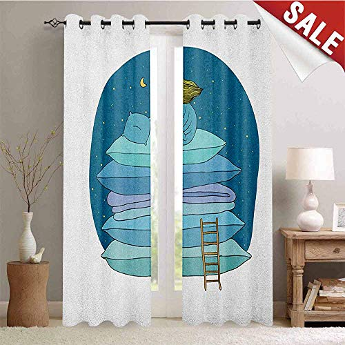 Hengshu Kids Waterproof Window Curtain Little Girl Sitting on The Top of a Pile of Pillows Drinking Milk Night Bedtime Room Darkening Wide Curtains W84 x L96 Inch Blue Pink Yellow