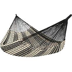 Garden and Outdoor Sunnydaze Mayan Family Hammock Hand-Woven XXL Thick Cord, Heavy Duty 880-Pound Capacity, Black/Natural hammocks