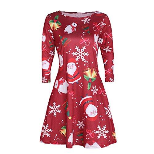 Doober Père Noël Cadeaux Vacances Robe Swing Évasé De Cause À Effet Imprimé Des Femmes, Noël Dames Robe De Bonhomme De Neige # 4