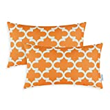 Pack of 2 CaliTime Throw Pillow Covers 12 X 20 Inches, Quatrefoil Accent Geometric, Orange