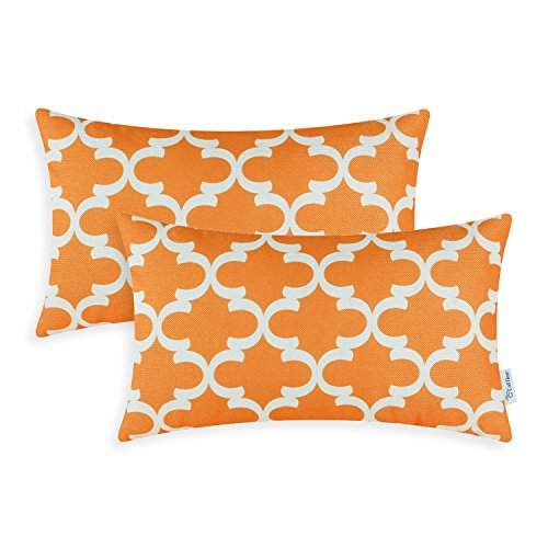 CaliTime Pack of 2 Soft Canvas Bolster Pillow Covers Cases for Couch Sofa Home Decor Modern Quatrefoil Accent Geometric 12 X 20 Inches Bright Orange ()