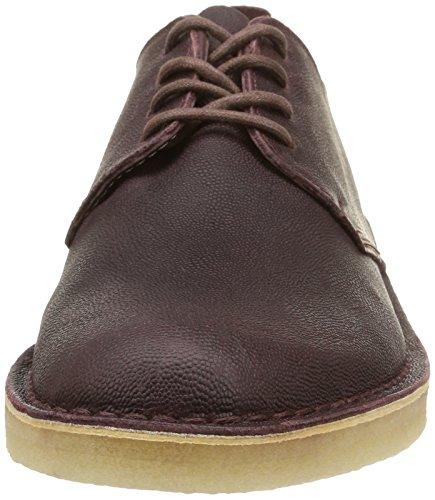 Clarks Originals Desert London, Zapatos de Cordones Derby para Hombre Rojo (Wine Leather)