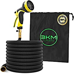 Garden Hose - 100 ft Heavy Duty Expandable - Premium Flexible & Expanding - 9-Pattern High-Pressure Water Spray Nozzle & Bag - No Kink Tangle-Free Lawn & Plant Watering -Triple Layer & Brass connector