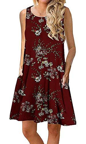 Silvous Summer Beach Dresses for Women Pleated Tank Dress (Wine Red XXL)