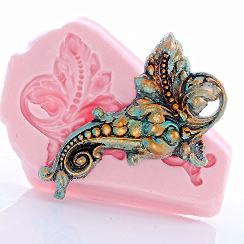 Victorian Baroque Scroll Work Silicone Mold Food Safe Fondant, Gum Paste, Resin, Polymer Clay, Craft, Jewelry Food ()