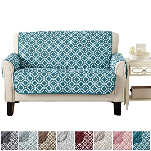 Modern Printed Reversible Stain Resistant Furniture Protector with Geometric Design. Perfect for Pets and Kids. Adjustable Elastic Straps Included. Liliana Collection (Loveseat, Teal / Optic White) from Great Bay Home