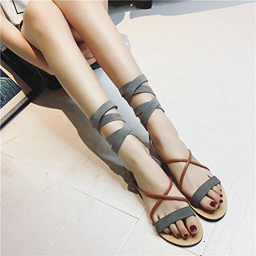 La mujer de verano pies zapatos planos sandalias de fondo negro ,41 Grey