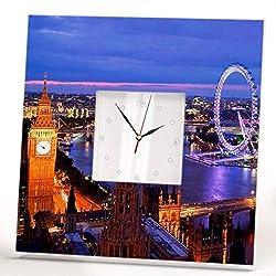 London Night City Wall Clock Framed Mirror Big Ben View Printed Thames River Fan Art Home Decor Gift