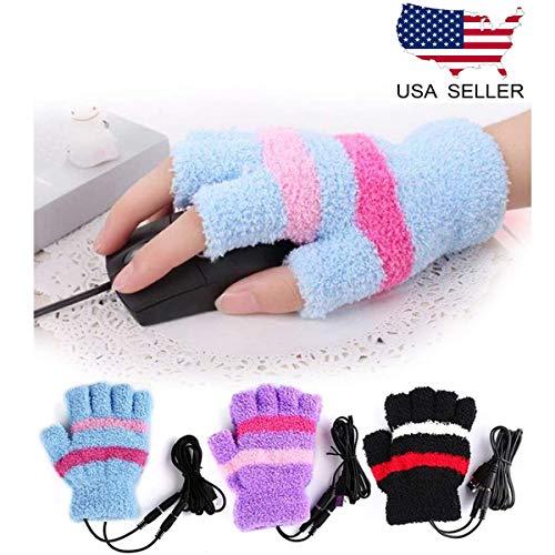 HoFire USB Heating Winter Gloves Women Hand Warm Gloves USB Heater Fingerless Warmer Mitten Gloves ()