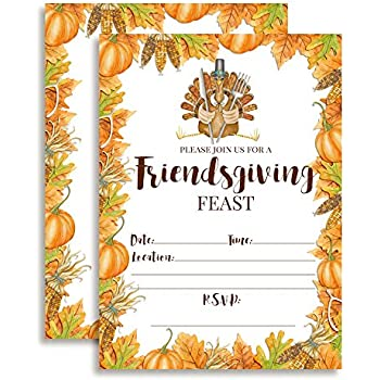 amazon com watercolor turkey friendsgiving feast invitations ten 5