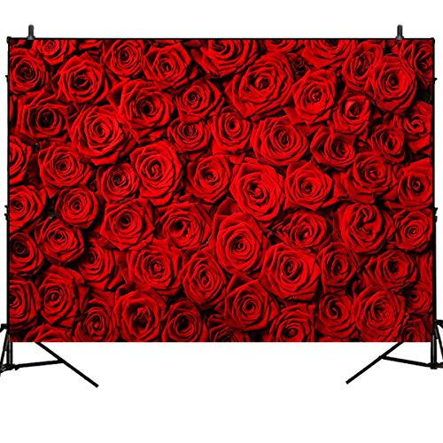 Mehofoto Valentine'S Day Background Red Rose Wall Backdrop Wedding Decoration Background 7X5ft Vinyl Backdrops Valentine's Day Party Decoration Banner Booth Studio Wedding Photography Background Props