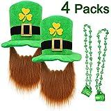 St. Patrick's Day Decorations, ZALALOVA 2 Pcs Saint Patrick Party Favors Supplies Shamrock Top Hat Saint Patrick's Props for Saint Patrick Irish Accessories- Lucky Leprechaun Hat with Beard and 2 Pcs Green Beads Necklace