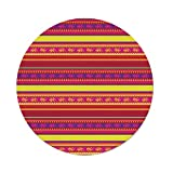 iPrint Polyester Round Tablecloth,Mexican,Vibrant Colored Striped Pattern Abstract Lizard Animal Figures Folk Borders Decorative,Multicolor,Dining Room Kitchen Picnic Table Cloth Cover Outdoor Indo