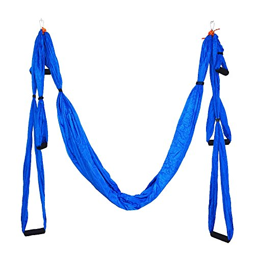 Parachute-Fabric-Swing-Inversion-Therapy-Anti-gravity-Aerial-Yoga-Dip-Stands-Color-Blue-New