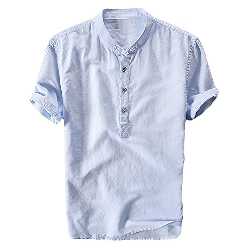 Taoliyuan Mens Linen Henley Shirt Short Sleeve Mandarin Collar Summer Beach Casual Frog Button Retro Blouse Shirt