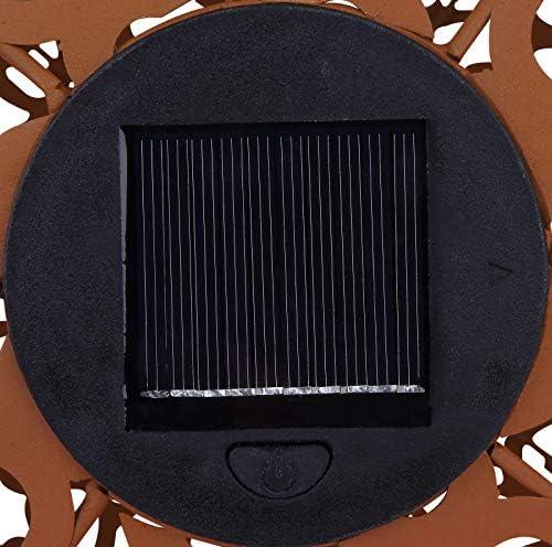 Solarleuchte Garten für Außen Deko Solarlampe LED Gartenlampen Solar Rost (Erdspieß, Dekoleuchte, Rostoptik, Durchmesser 40 cm, Große Kugel)