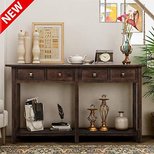 DANGRUUT Upgrade Version Rustic Brushed Texture Entryway Console Table, Best 59 Thicken Hallway Sofa Table, Side Storage Cabinet, with 4 Drawers and Shelf, Wood Living Room Furniture Espresso