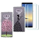 2 X Samsung Galaxy Note 9 Case with 2 Pack Glass Screen Protector Phone Case for Men Women Girls Clear Soft TPU with Protective Bumper Cover Case for Samsung Galaxy Note 9