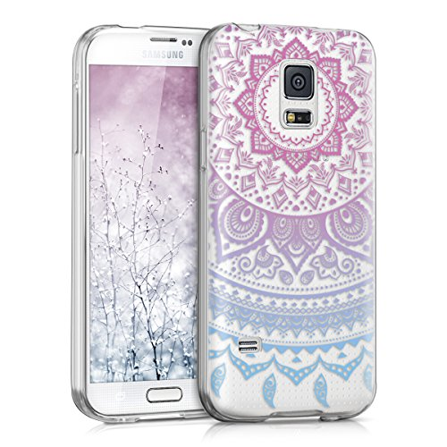 kwmobile TPU Silicone Case for Samsung Galaxy S5 Mini G800 - Crystal Clear Smartphone Back Case Protective Cover - Blue/Dark Pink/Transparent (Samsung Galaxy S5 Mini Tough Case)