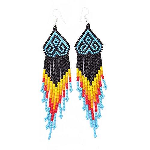 La vivia Handmade Fashion Jewelry Black Multicolored Long Seed Beaded Earrings E54/10