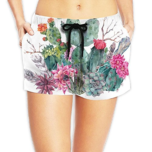 Exotic Wedding Bouquets (ZhiqianDF Women's Exotic Natural Vintage Watercolor Bouquet In Boho Style Cactus Succulent Flowers Twigs White Casual Bikini Bottom XXL Adjustable Beach Shorts)