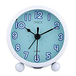 Onioc Non Ticking Analog Alarm Clock With Nightlight , Battery Operated , Metal Case Sturdy Alarm Clocks For Bedroom