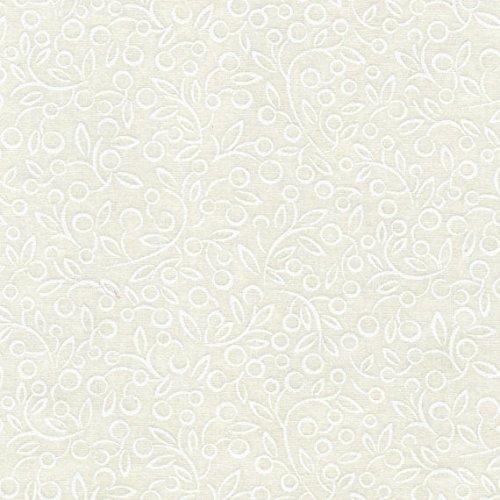 Rambling Vine (White on White Berry Vine, P&B Fabrics, Ramblings 7, RAM00726-W, By the Yard)