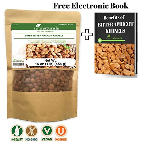 aimnaturals Bitter Apricot Kernels LARGE (1 LB) 16 Ounces 454 G 100% Organic Raw Value Pack+ FREE eBook Benefits of Bitter Apricot Seeds -100% Organic Apricot Seeds-High in vitimin B17 & B15