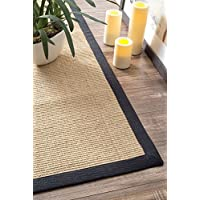 Natural Fiber Cotton Border Sisal Herringbone Black Area Rugs, 9 Feet by 12 Feet (9 x 12)