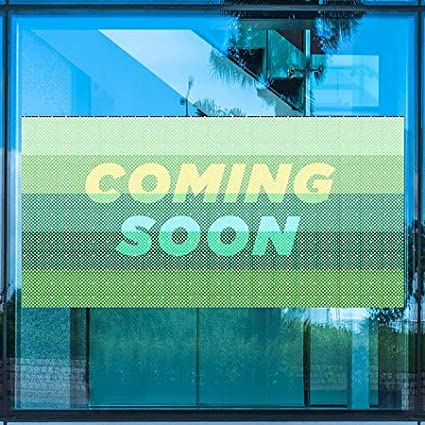 Modern Gradient Perforated Window Decal CGSignLab Coming Soon 96x48