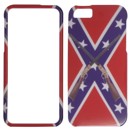 Apple iPhone 5 - Rebel Flag / CONFEDRATE FLAG with Rifels Hard Case, Cover, Snap On, Faceplate