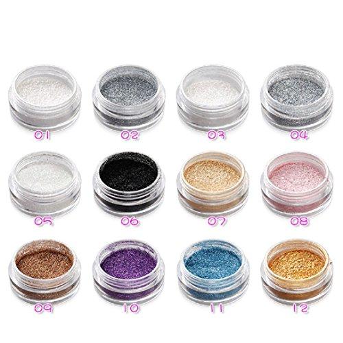 YABINA 15 Colors Glitter Shimmer Pigments Loose Eyeshadow Dust Powder for Makeup, Face, Hair, Lips,Nail Art (1#)