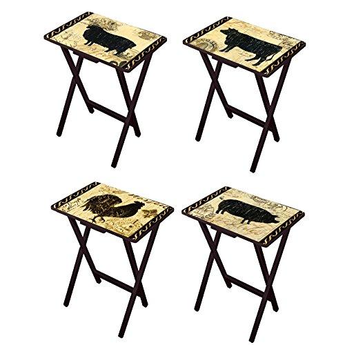 Cape Craftsmen Elegant Farmhouse TV Trays with Stand, Set of 4