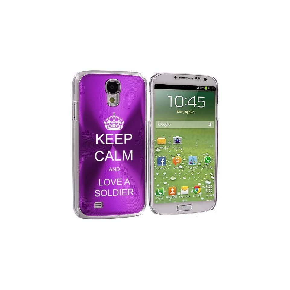 Purple Samsung Galaxy S4 S IV i9500 Aluminum Plated Hard Back Case Cover KK395 Keep Calm and Love A Soldier