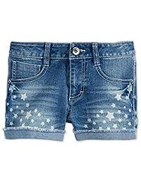 Imperial Star Girls Star-Print Denim Shorts Faded Blue 16