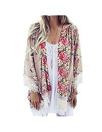 Changeshopping Women Printed Chiffon Shawl Kimono Cardigan Tops Cover Up Blouse