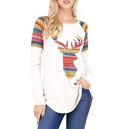 23d7c594d18d3 Franterd Clearance Blouse Women Christmas Simple White Shirt Xmas Elk Print  Bottoming Blouse Sports Tops S M L